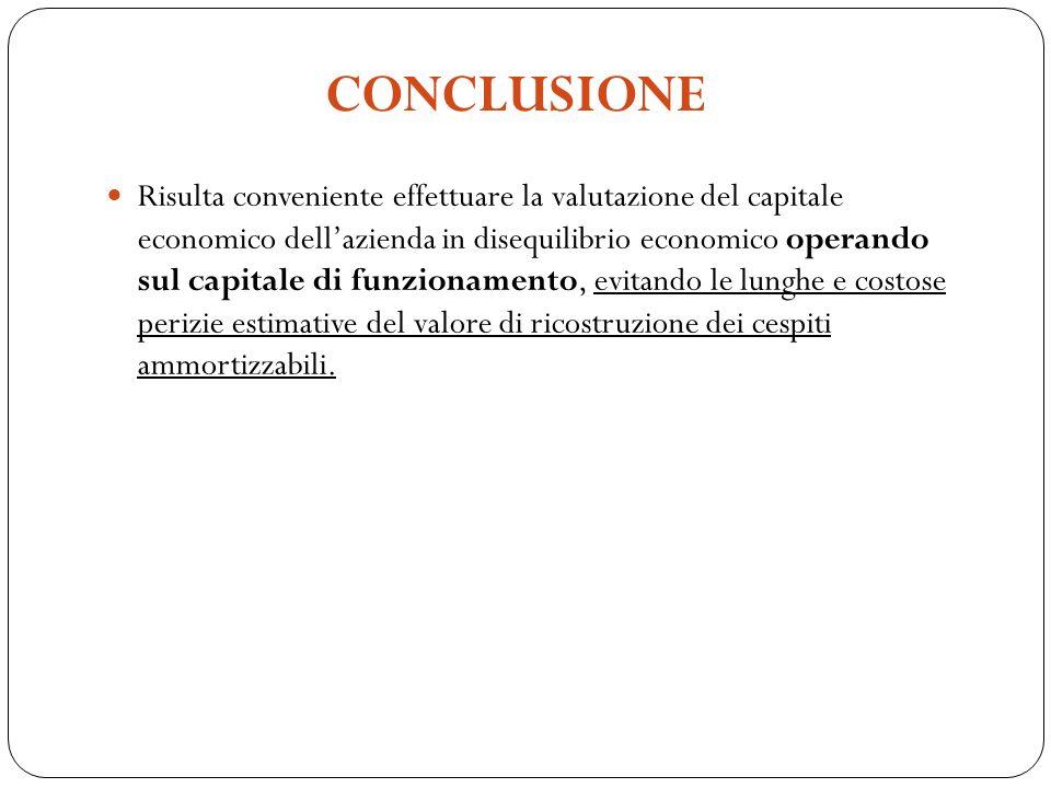 Risulta conveniente effettuare la valutazione del capitale economico dellazienda in disequilibrio economico operando sul capitale di funzionamento, ev