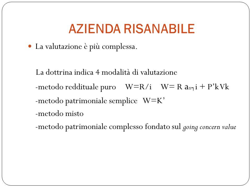 AZIENDA RISANABILE La valutazione è più complessa. La dottrina indica 4 modalità di valutazione -metodo reddituale puro W=R/i W= R a n i + Pk Vk -meto