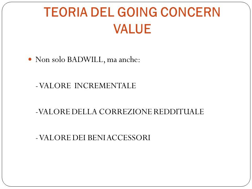 TEORIA DEL GOING CONCERN VALUE Non solo BADWILL, ma anche: - VALORE INCREMENTALE -VALORE DELLA CORREZIONE REDDITUALE - VALORE DEI BENI ACCESSORI