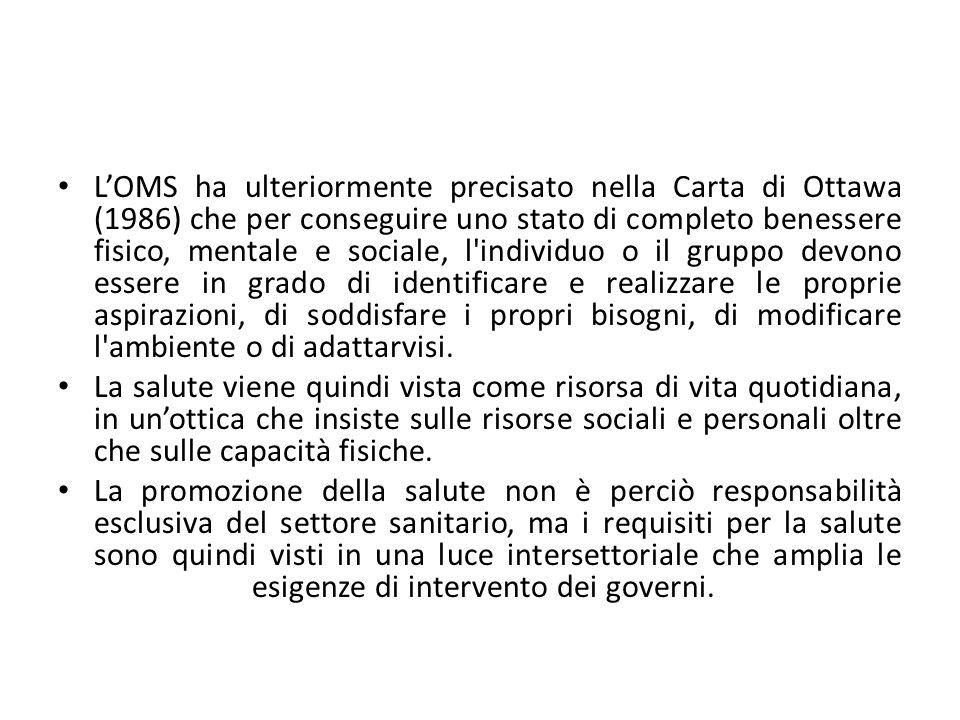 LOMS ha ulteriormente precisato nella Carta di Ottawa (1986) che per conseguire uno stato di completo benessere fisico, mentale e sociale, l'individuo