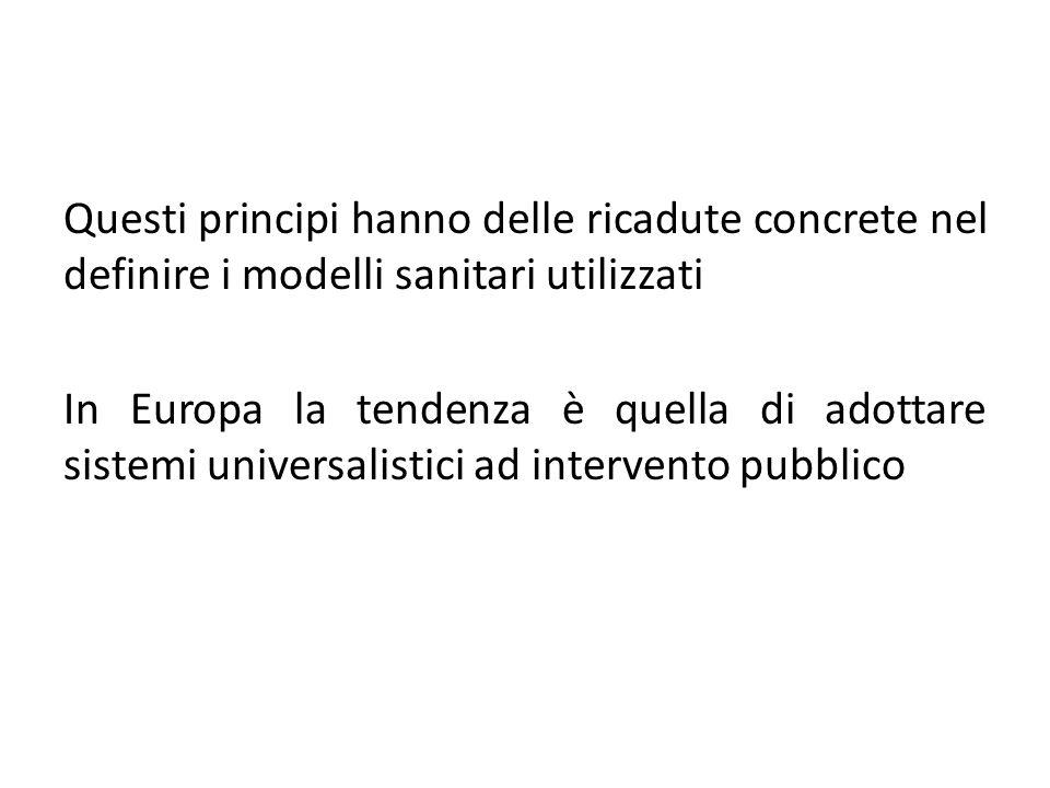 Questi principi hanno delle ricadute concrete nel definire i modelli sanitari utilizzati In Europa la tendenza è quella di adottare sistemi universali