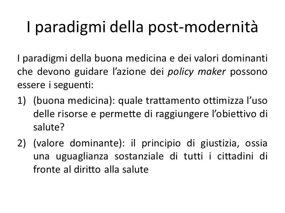 I paradigmi della post-modernità I paradigmi della buona medicina e dei valori dominanti che devono guidare lazione dei policy maker possono essere i