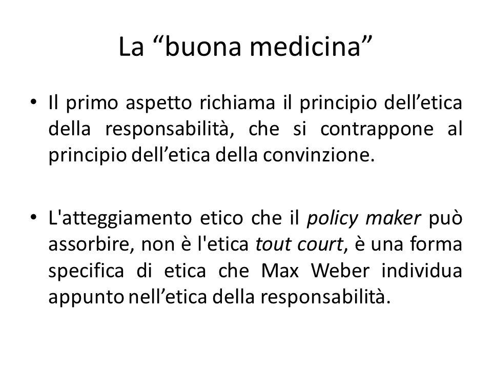 La buona medicina Il primo aspetto richiama il principio delletica della responsabilità, che si contrappone al principio delletica della convinzione.