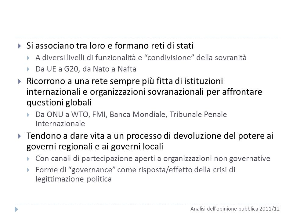 Si associano tra loro e formano reti di stati A diversi livelli di funzionalità e condivisione della sovranità Da UE a G20, da Nato a Nafta Ricorrono