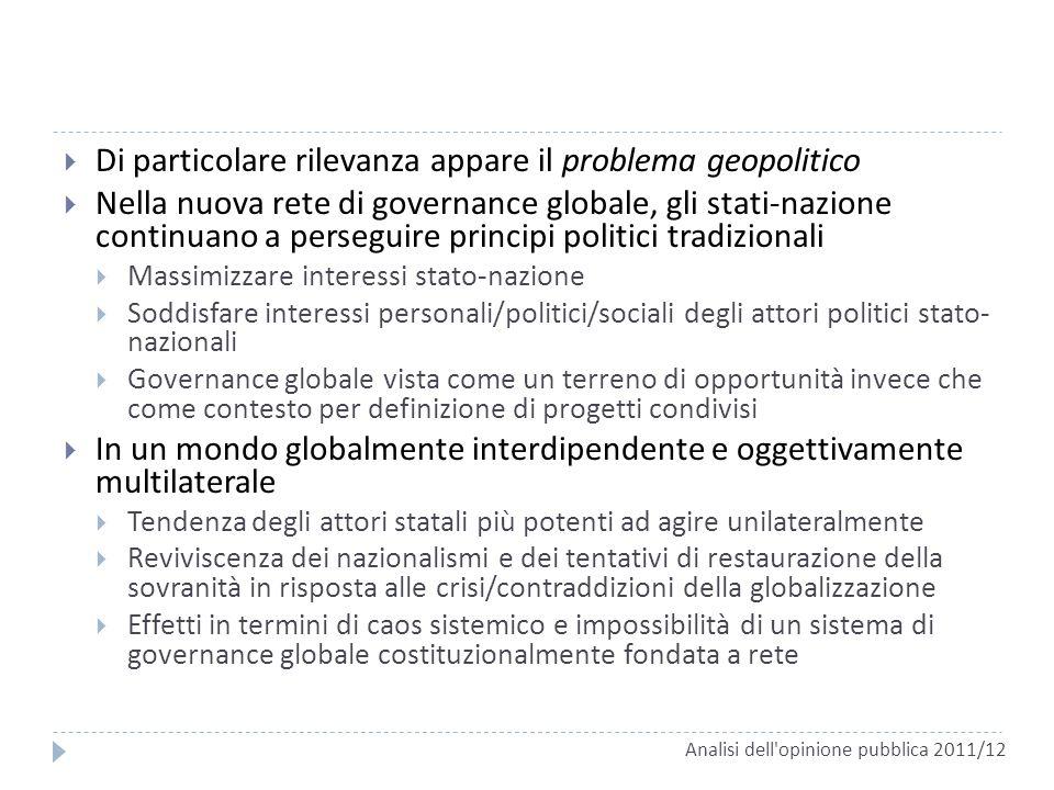 Di particolare rilevanza appare il problema geopolitico Nella nuova rete di governance globale, gli stati-nazione continuano a perseguire principi pol