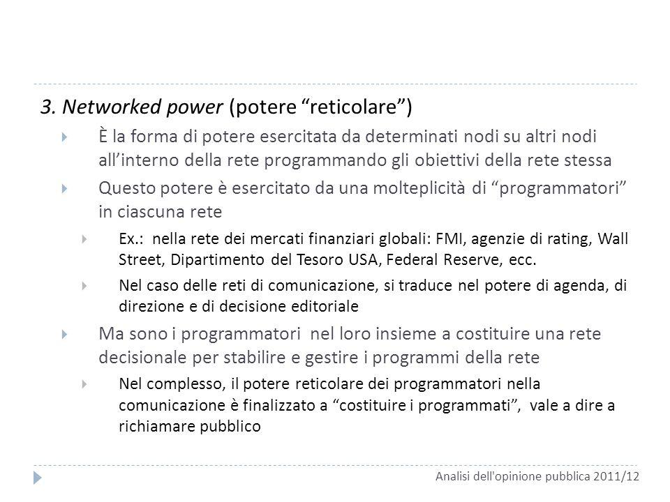 3. Networked power (potere reticolare) È la forma di potere esercitata da determinati nodi su altri nodi allinterno della rete programmando gli obiett