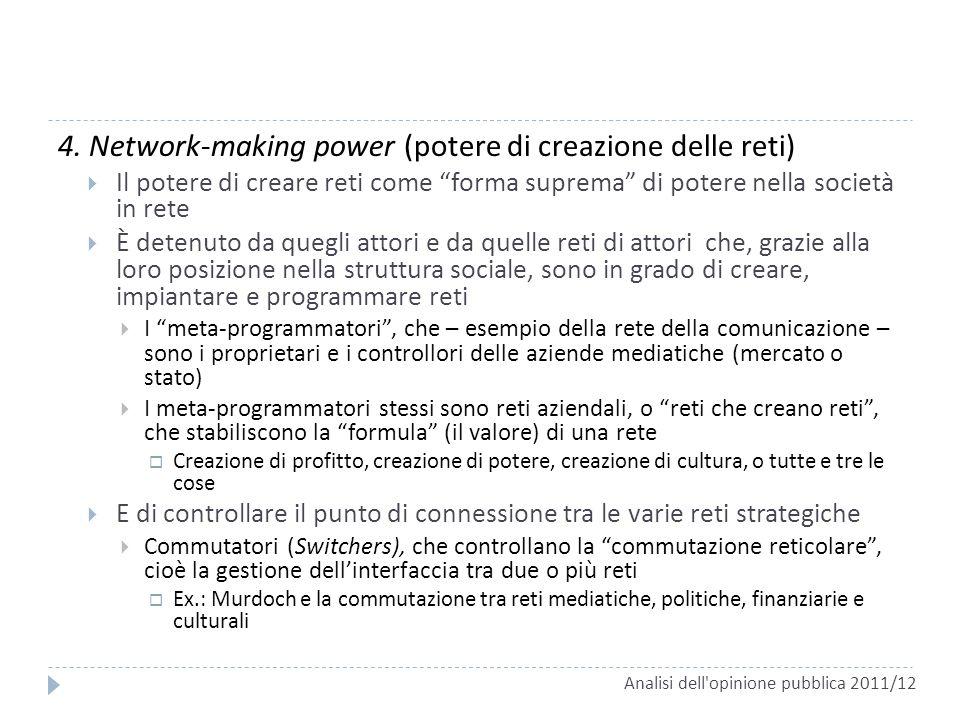 4. Network-making power (potere di creazione delle reti) Il potere di creare reti come forma suprema di potere nella società in rete È detenuto da que