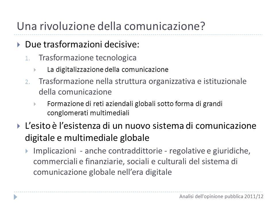 Una rivoluzione della comunicazione? Due trasformazioni decisive: 1. Trasformazione tecnologica La digitalizzazione della comunicazione 2. Trasformazi
