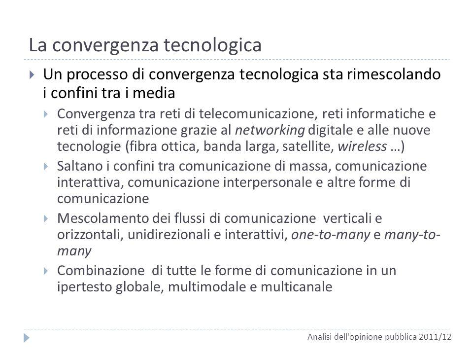 La convergenza tecnologica Un processo di convergenza tecnologica sta rimescolando i confini tra i media Convergenza tra reti di telecomunicazione, re