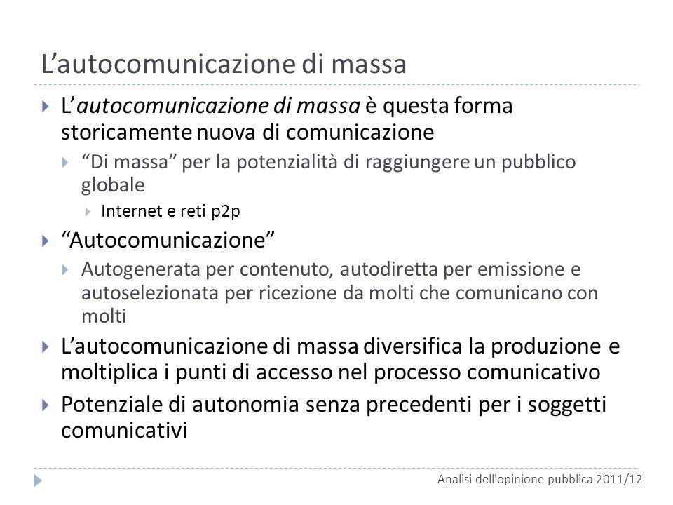 Lautocomunicazione di massa Lautocomunicazione di massa è questa forma storicamente nuova di comunicazione Di massa per la potenzialità di raggiungere