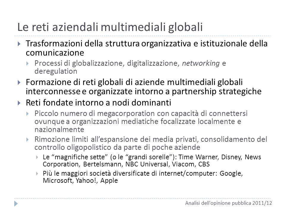 Le reti aziendali multimediali globali Trasformazioni della struttura organizzativa e istituzionale della comunicazione Processi di globalizzazione, d
