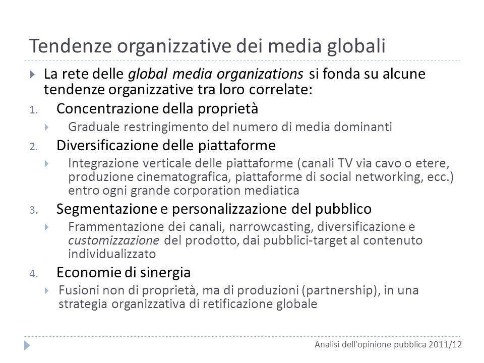 Tendenze organizzative dei media globali La rete delle global media organizations si fonda su alcune tendenze organizzative tra loro correlate: 1. Con