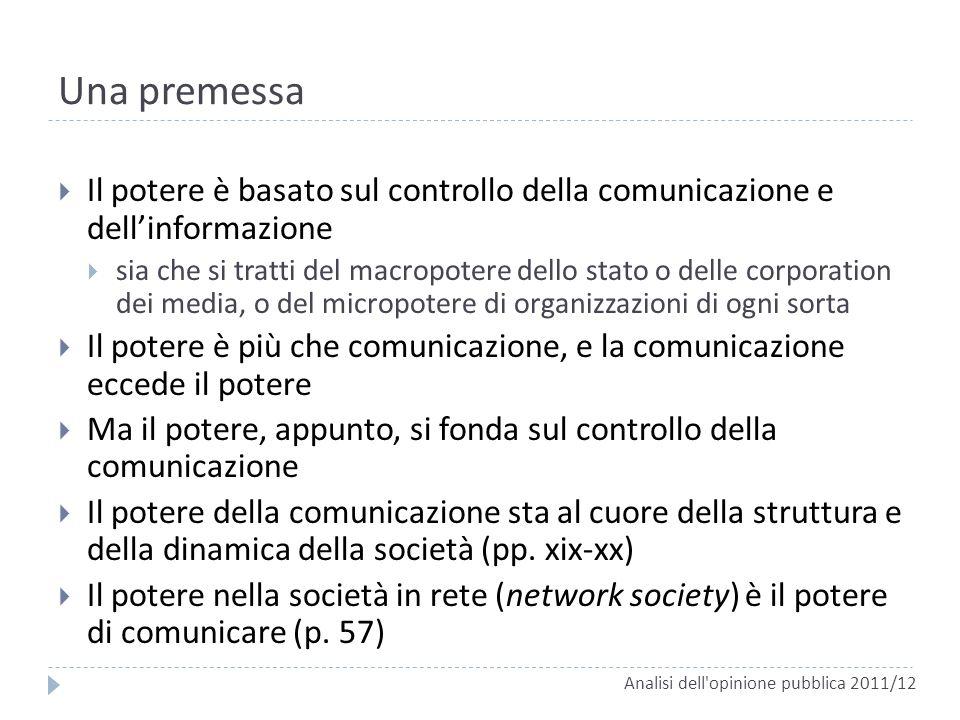 Una premessa Analisi dell'opinione pubblica 2011/12 Il potere è basato sul controllo della comunicazione e dellinformazione sia che si tratti del macr