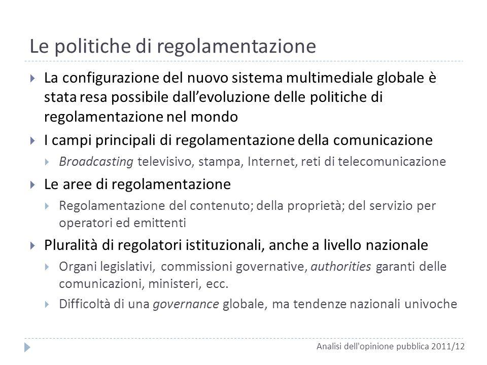 Le politiche di regolamentazione La configurazione del nuovo sistema multimediale globale è stata resa possibile dallevoluzione delle politiche di reg