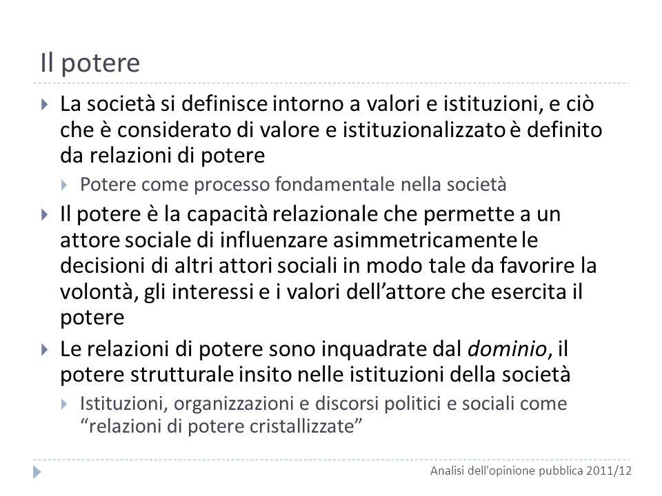Il potere La società si definisce intorno a valori e istituzioni, e ciò che è considerato di valore e istituzionalizzato è definito da relazioni di po