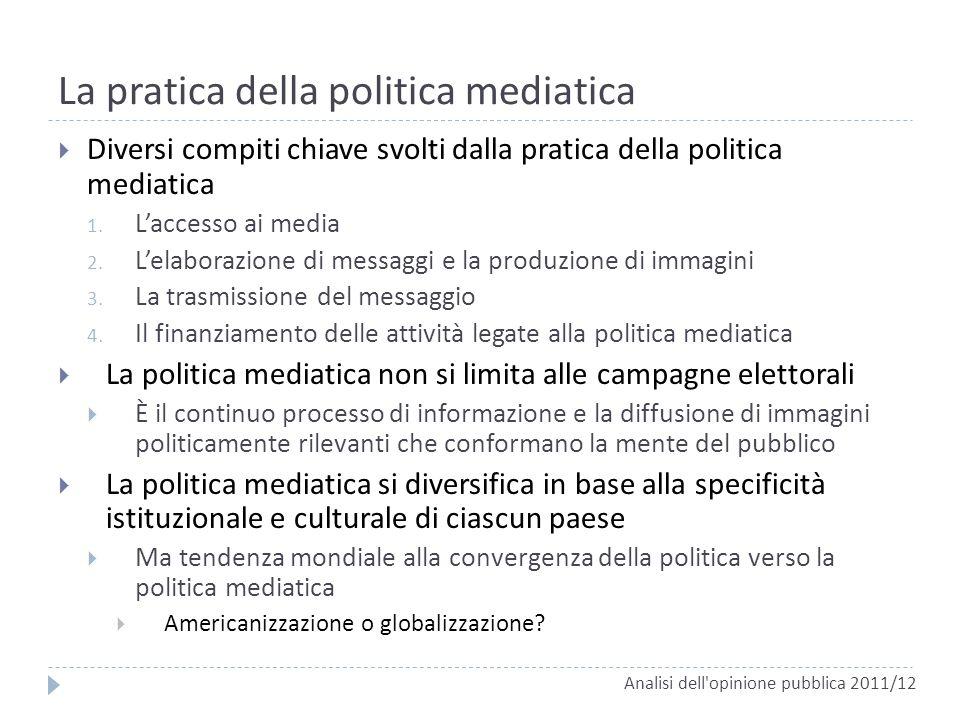 La pratica della politica mediatica Diversi compiti chiave svolti dalla pratica della politica mediatica 1. Laccesso ai media 2. Lelaborazione di mess