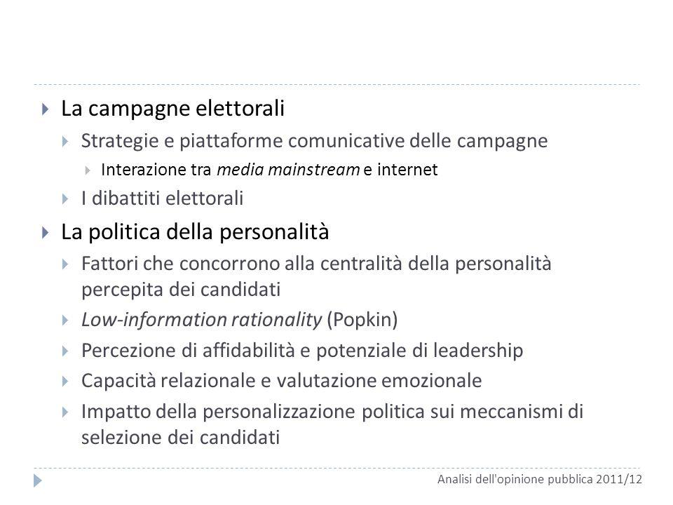 La campagne elettorali Strategie e piattaforme comunicative delle campagne Interazione tra media mainstream e internet I dibattiti elettorali La polit