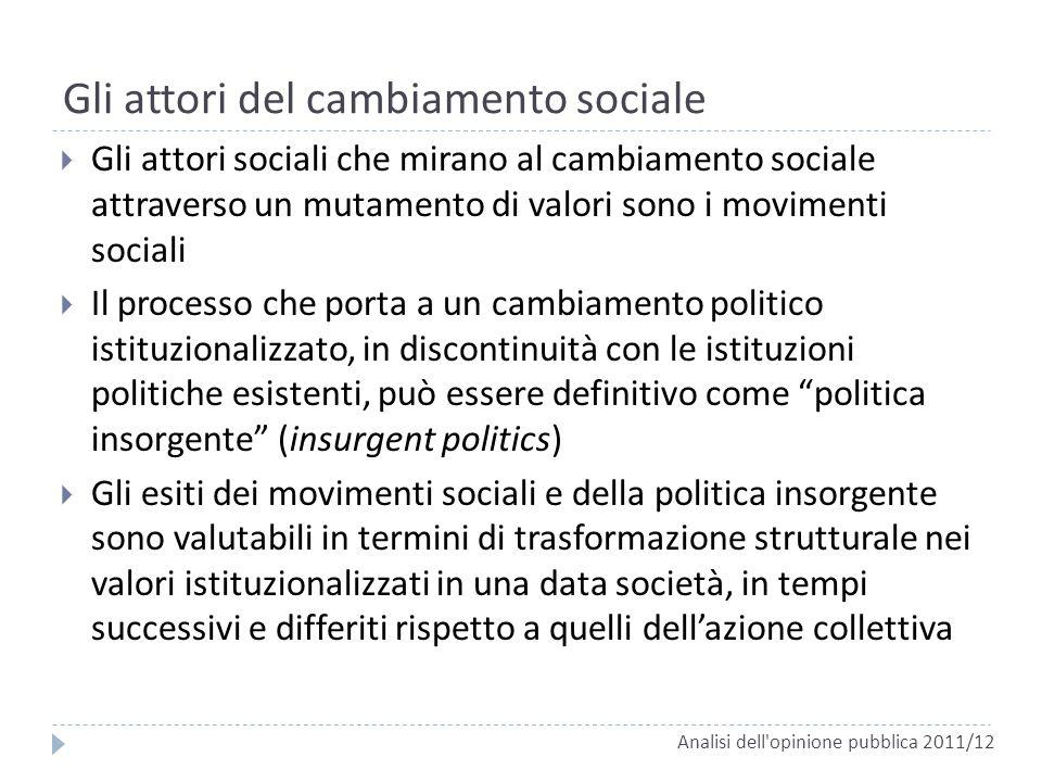 Gli attori sociali che mirano al cambiamento sociale attraverso un mutamento di valori sono i movimenti sociali Il processo che porta a un cambiamento