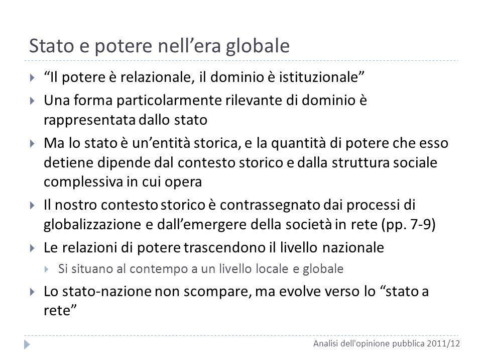 Stato e potere nellera globale Il potere è relazionale, il dominio è istituzionale Una forma particolarmente rilevante di dominio è rappresentata dall