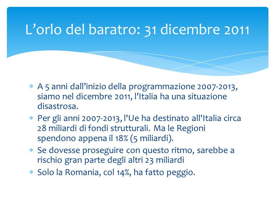 A 5 anni dallinizio della programmazione 2007-2013, siamo nel dicembre 2011, lItalia ha una situazione disastrosa. Per gli anni 2007-2013, l'Ue ha des