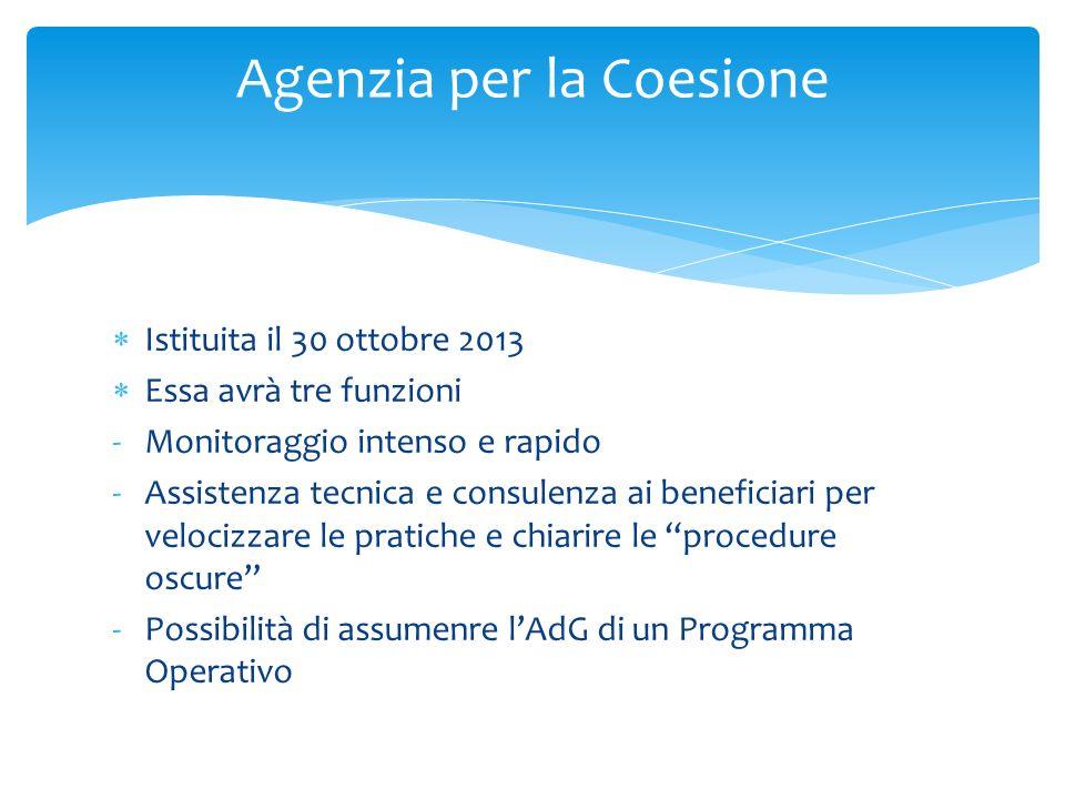 Istituita il 30 ottobre 2013 Essa avrà tre funzioni -Monitoraggio intenso e rapido -Assistenza tecnica e consulenza ai beneficiari per velocizzare le