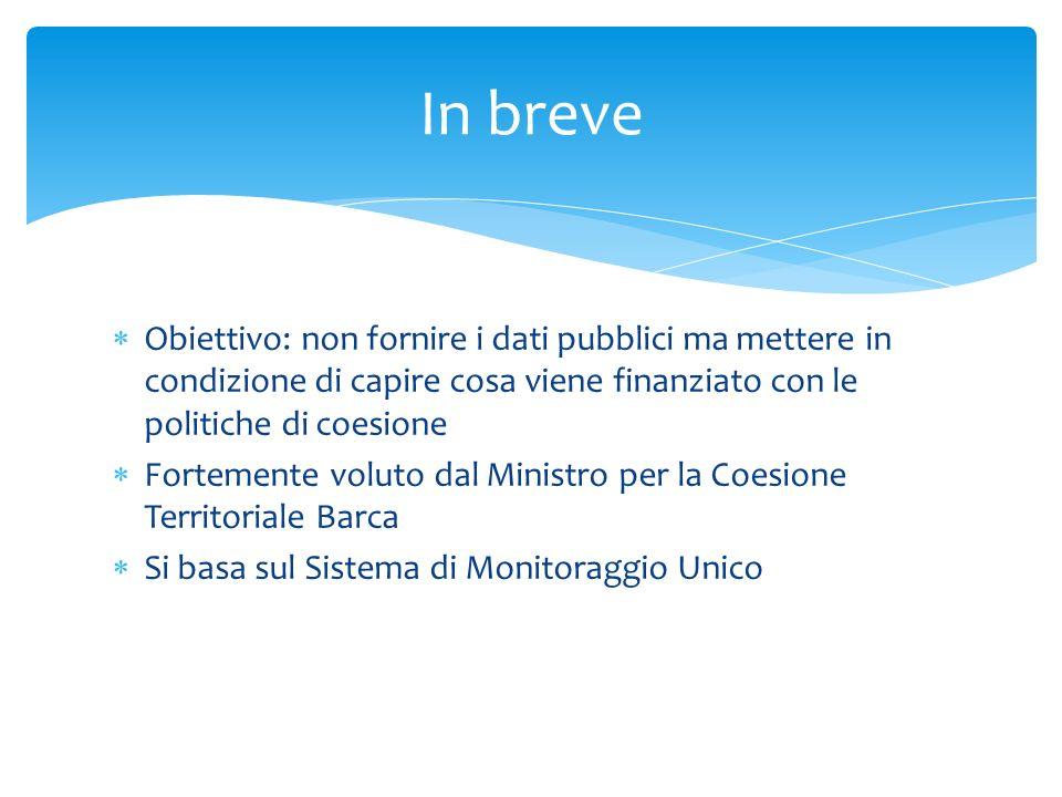 Obiettivo: non fornire i dati pubblici ma mettere in condizione di capire cosa viene finanziato con le politiche di coesione Fortemente voluto dal Min