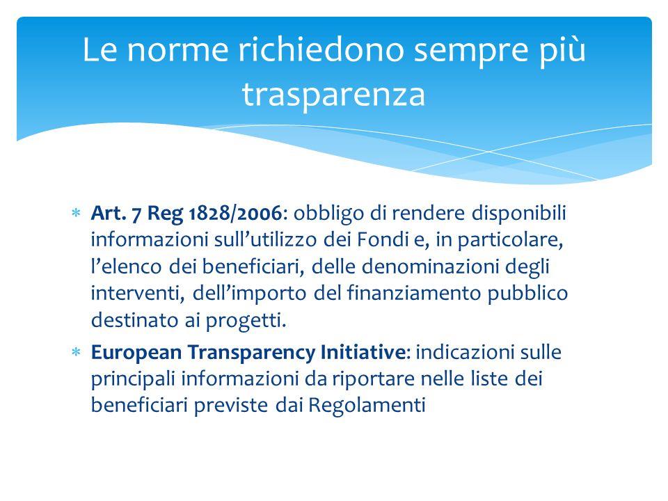 Art. 7 Reg 1828/2006: obbligo di rendere disponibili informazioni sullutilizzo dei Fondi e, in particolare, lelenco dei beneficiari, delle denominazio
