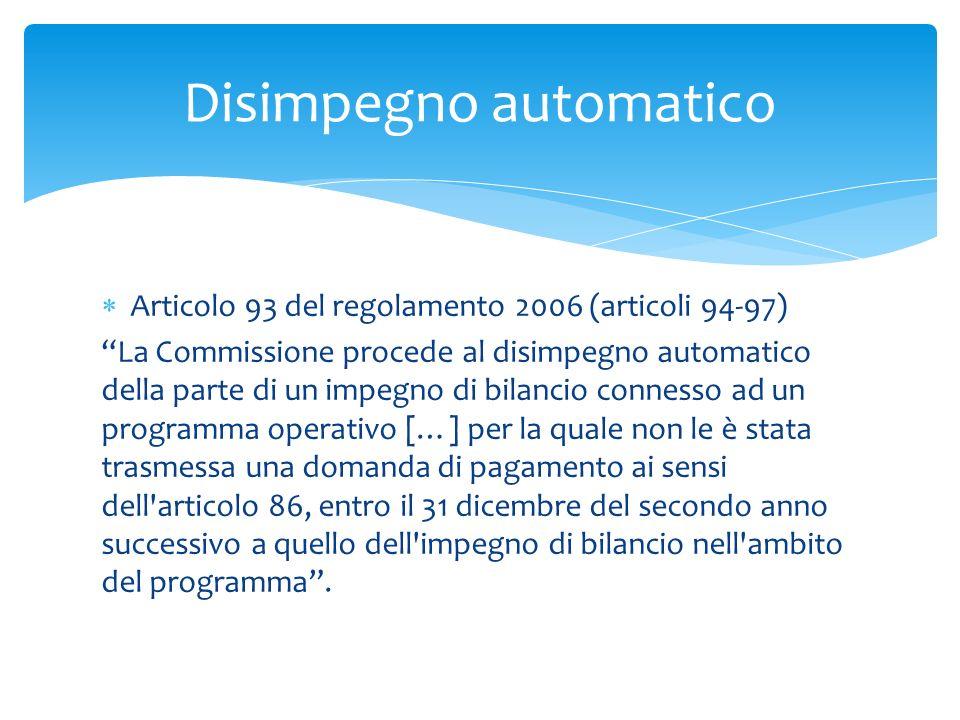 Articolo 93 del regolamento 2006 (articoli 94-97) La Commissione procede al disimpegno automatico della parte di un impegno di bilancio connesso ad un