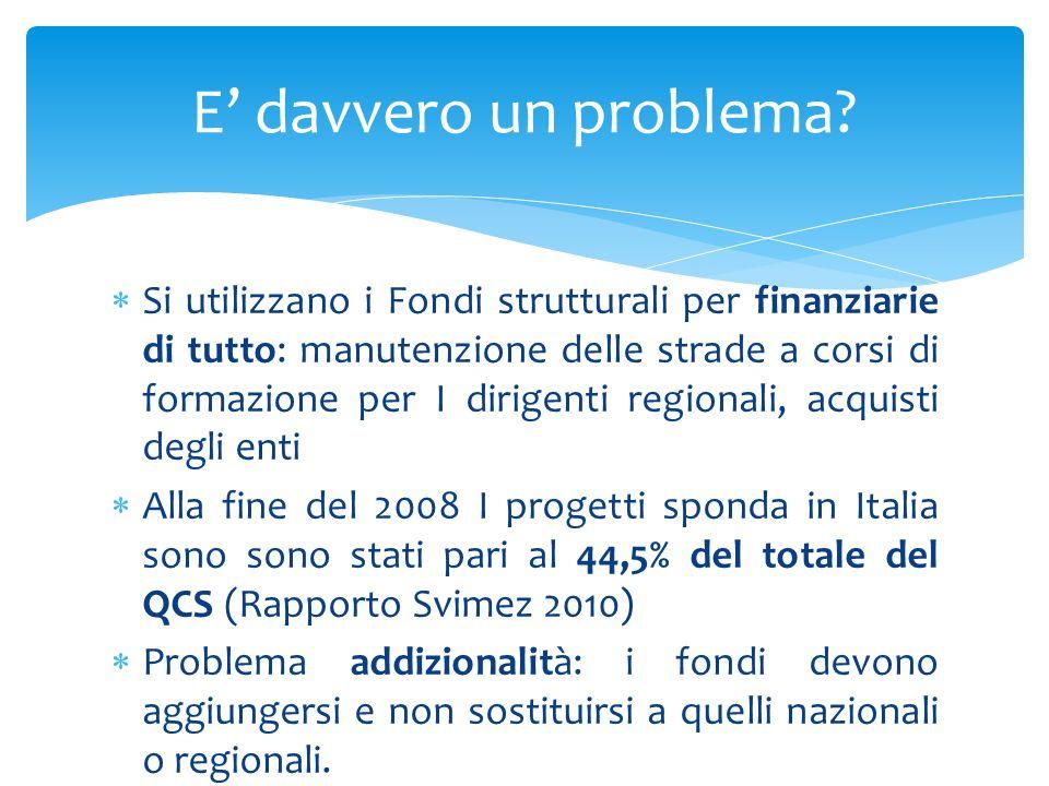 Si utilizzano i Fondi strutturali per finanziarie di tutto: manutenzione delle strade a corsi di formazione per I dirigenti regionali, acquisti degli