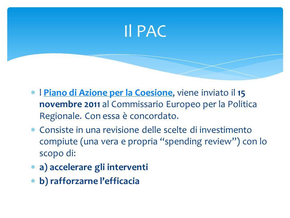 l Piano di Azione per la Coesione, viene inviato il 15 novembre 2011 al Commissario Europeo per la Politica Regionale. Con essa è concordato.Piano di