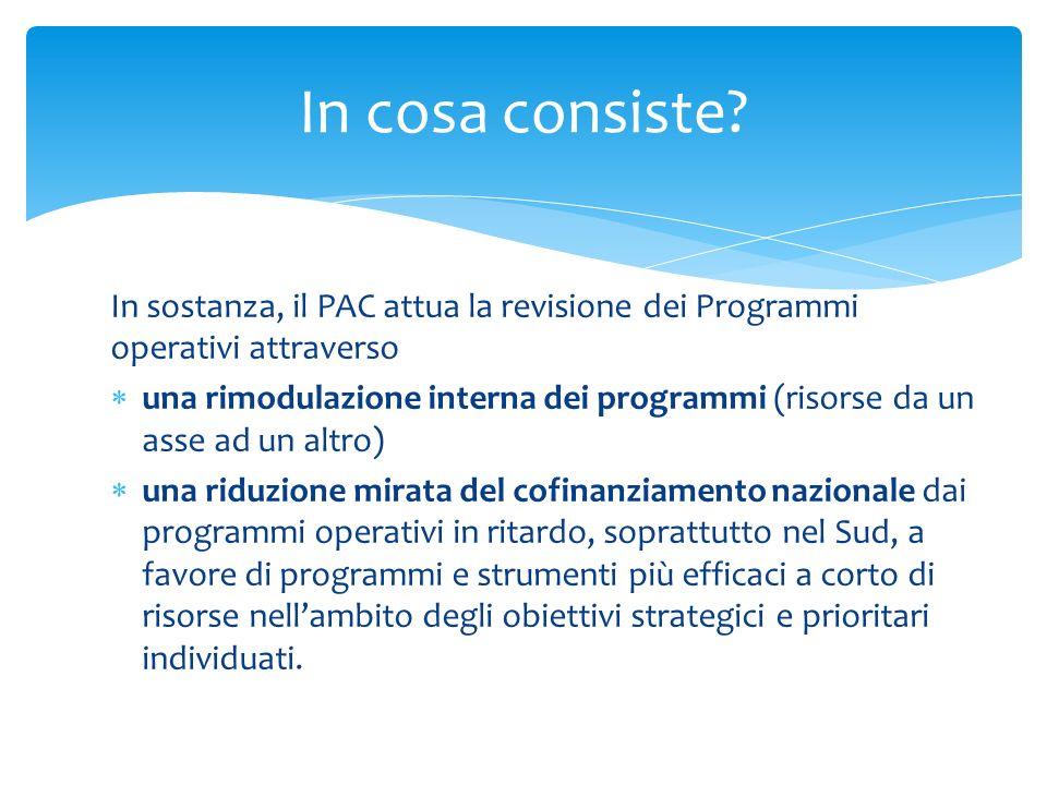 In sostanza, il PAC attua la revisione dei Programmi operativi attraverso una rimodulazione interna dei programmi (risorse da un asse ad un altro) una