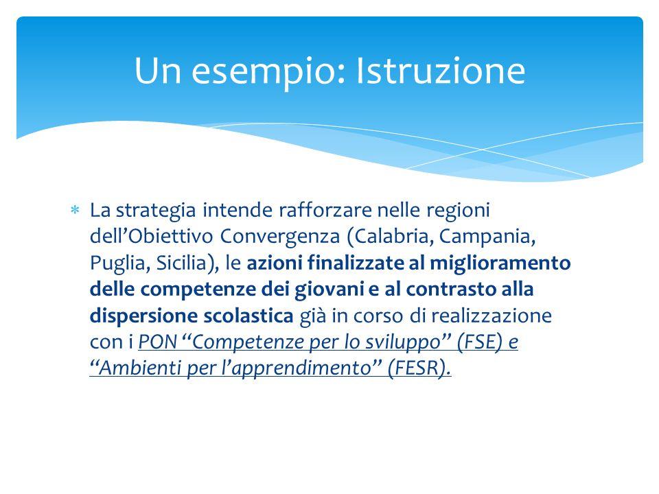 La strategia intende rafforzare nelle regioni dellObiettivo Convergenza (Calabria, Campania, Puglia, Sicilia), le azioni finalizzate al miglioramento