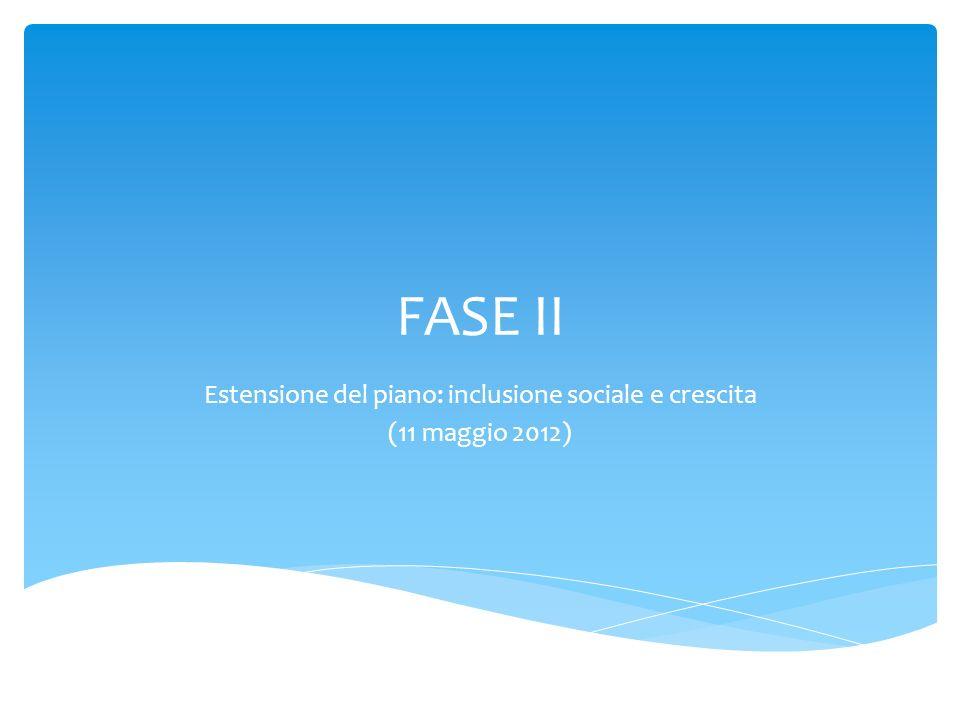 FASE II Estensione del piano: inclusione sociale e crescita (11 maggio 2012)