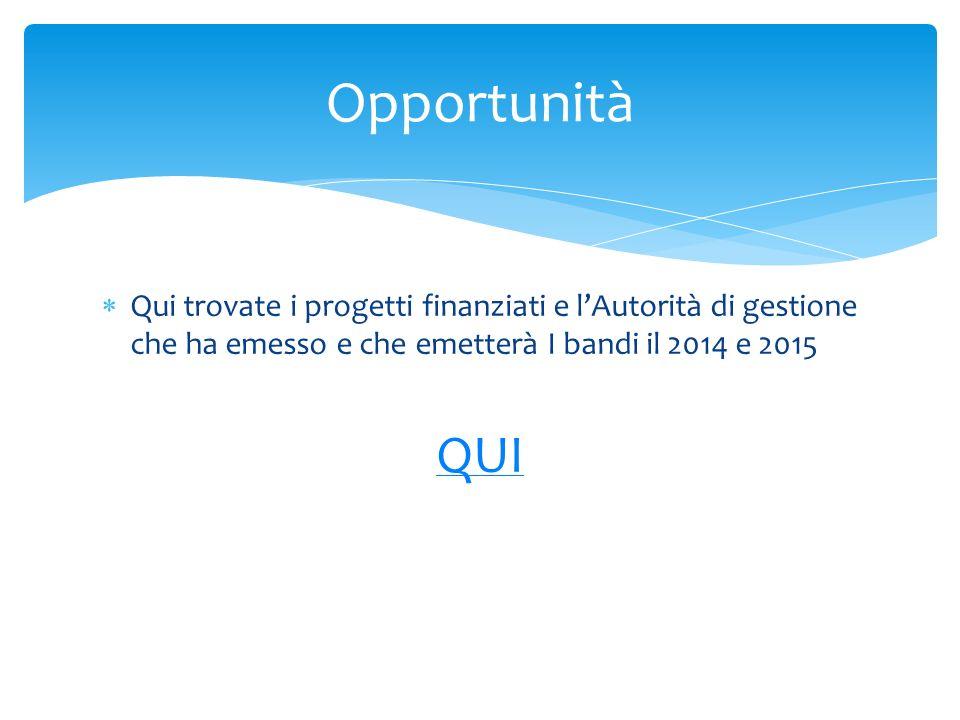 Qui trovate i progetti finanziati e lAutorità di gestione che ha emesso e che emetterà I bandi il 2014 e 2015 QUI Opportunità