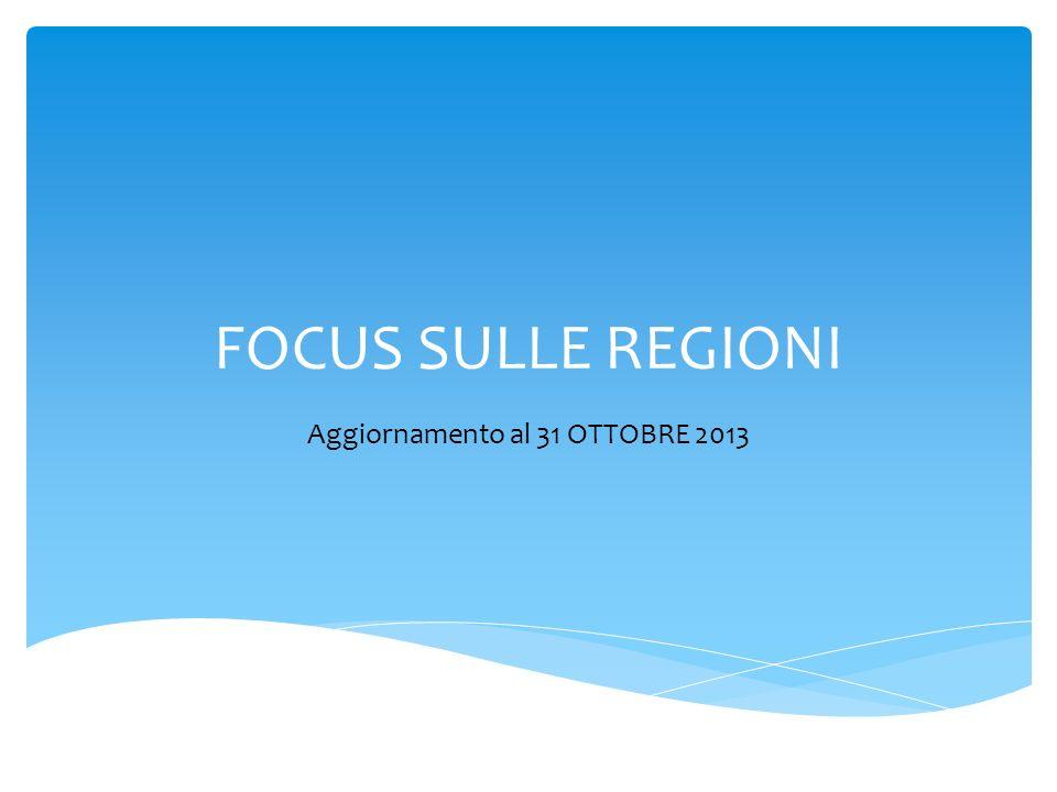 FOCUS SULLE REGIONI Aggiornamento al 31 OTTOBRE 2013