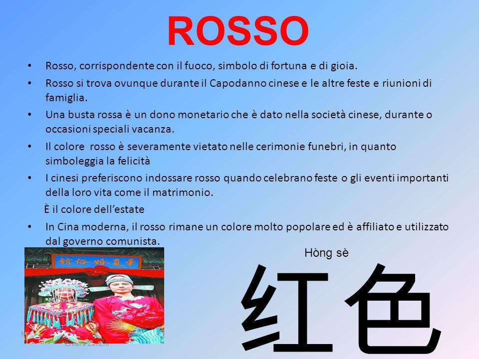 ROSSO Rosso, corrispondente con il fuoco, simbolo di fortuna e di gioia. Rosso si trova ovunque durante il Capodanno cinese e le altre feste e riunion