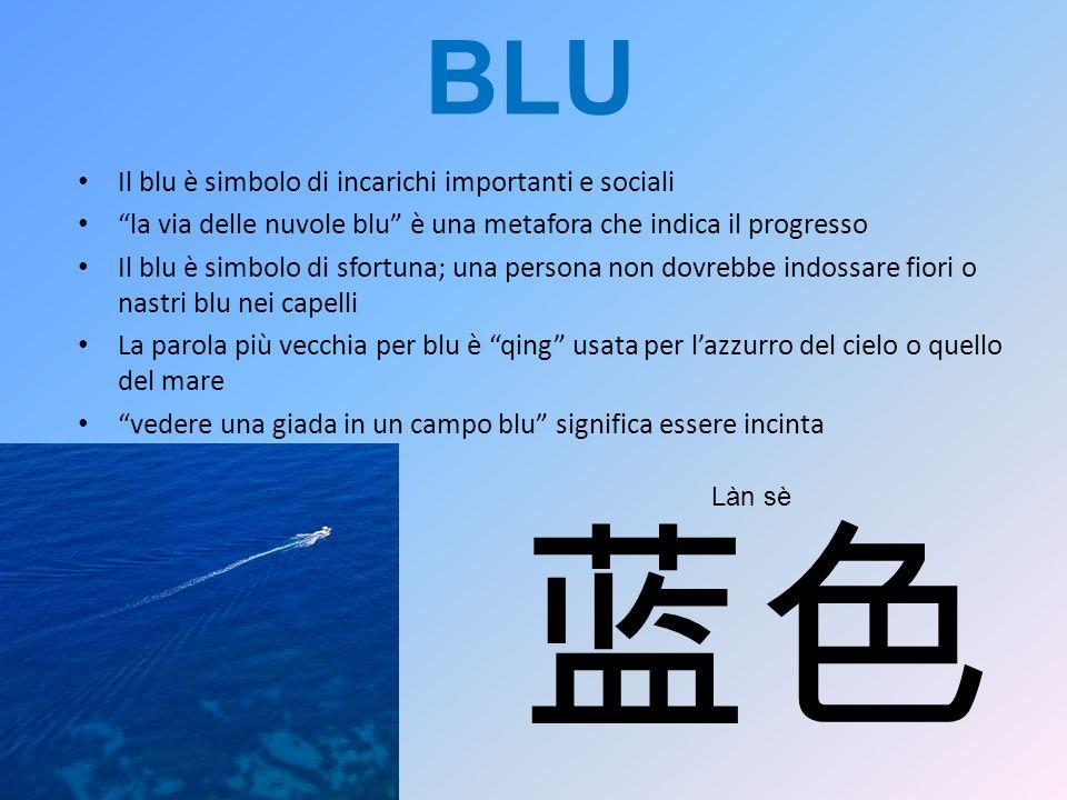 BLU Il blu è simbolo di incarichi importanti e sociali la via delle nuvole blu è una metafora che indica il progresso Il blu è simbolo di sfortuna; un