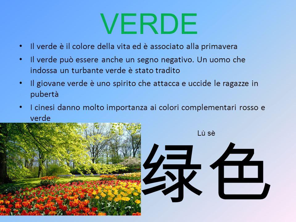 VERDE Il verde è il colore della vita ed è associato alla primavera Il verde può essere anche un segno negativo. Un uomo che indossa un turbante verde