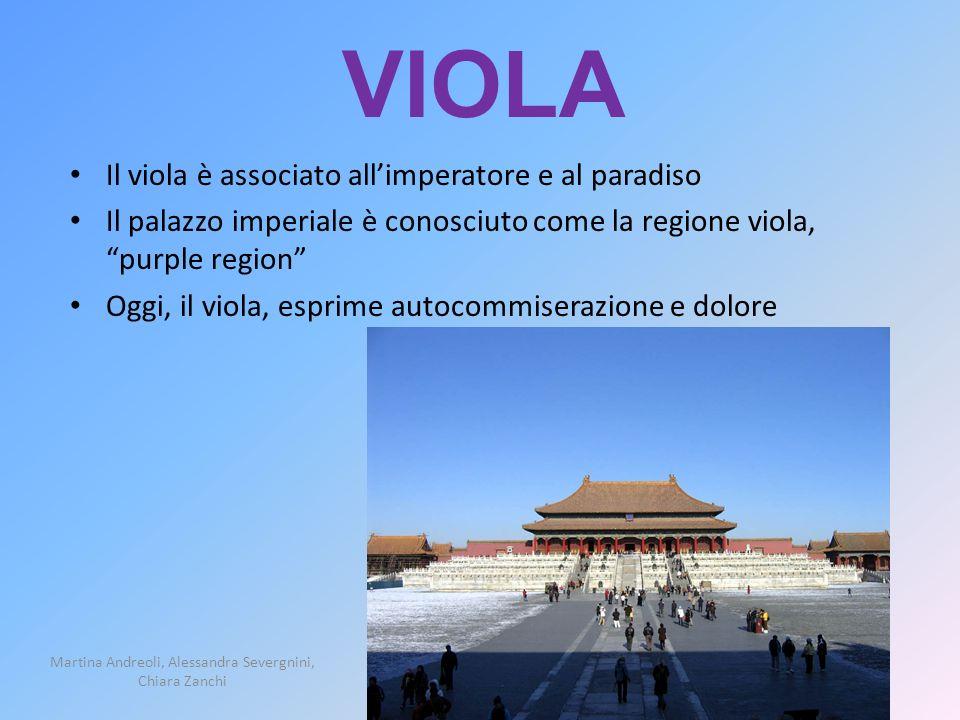VIOLA Il viola è associato allimperatore e al paradiso Il palazzo imperiale è conosciuto come la regione viola, purple region Oggi, il viola, esprime