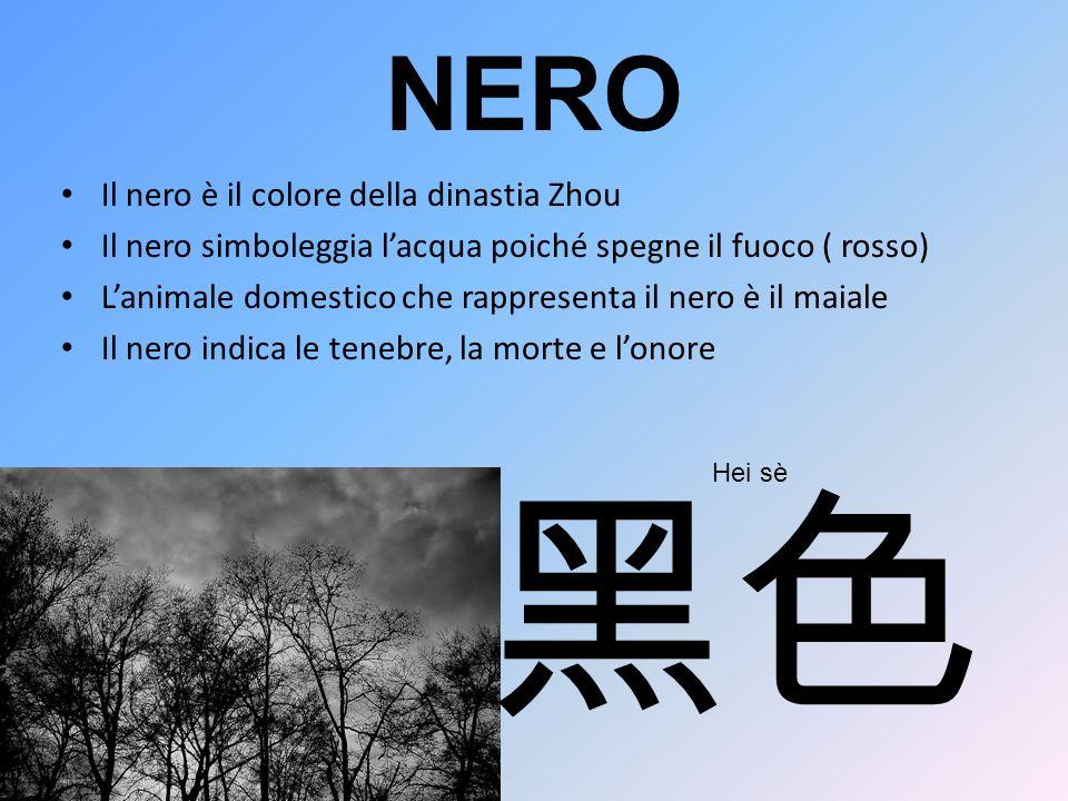 NERO Il nero è il colore della dinastia Zhou Il nero simboleggia lacqua poiché spegne il fuoco ( rosso) Lanimale domestico che rappresenta il nero è i