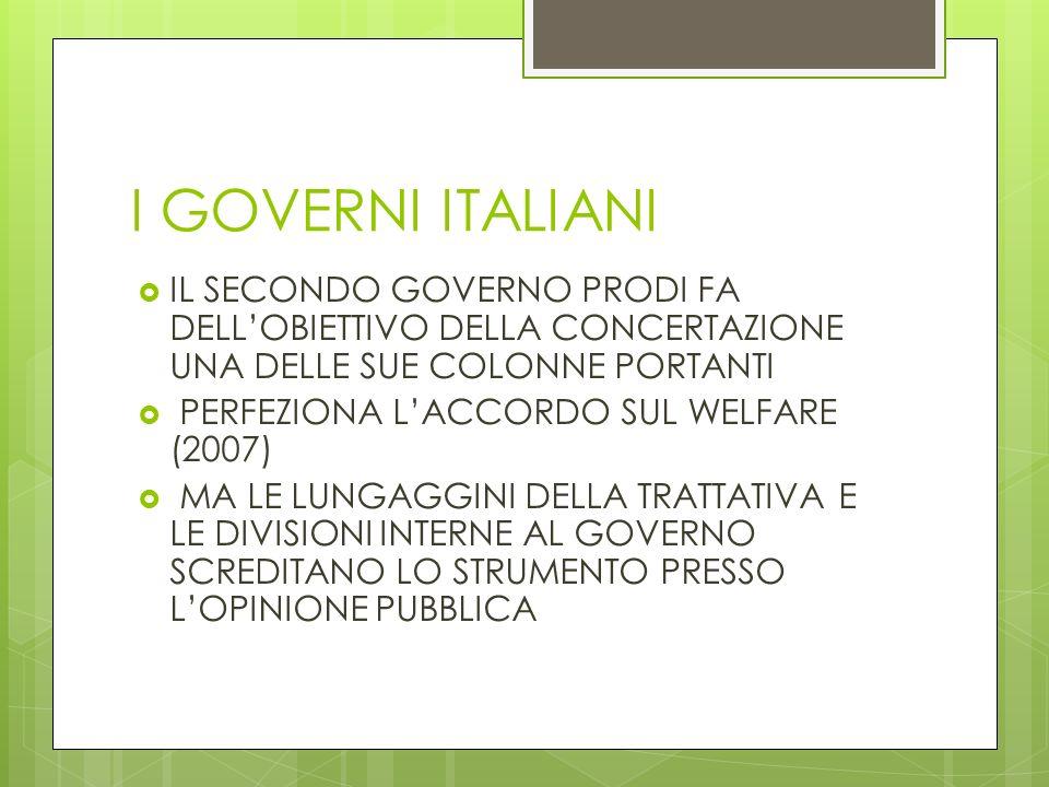 I GOVERNI ITALIANI IL SECONDO GOVERNO PRODI FA DELLOBIETTIVO DELLA CONCERTAZIONE UNA DELLE SUE COLONNE PORTANTI PERFEZIONA LACCORDO SUL WELFARE (2007)