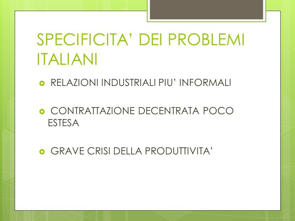 SPECIFICITA DEI PROBLEMI ITALIANI RELAZIONI INDUSTRIALI PIU INFORMALI CONTRATTAZIONE DECENTRATA POCO ESTESA GRAVE CRISI DELLA PRODUTTIVITA