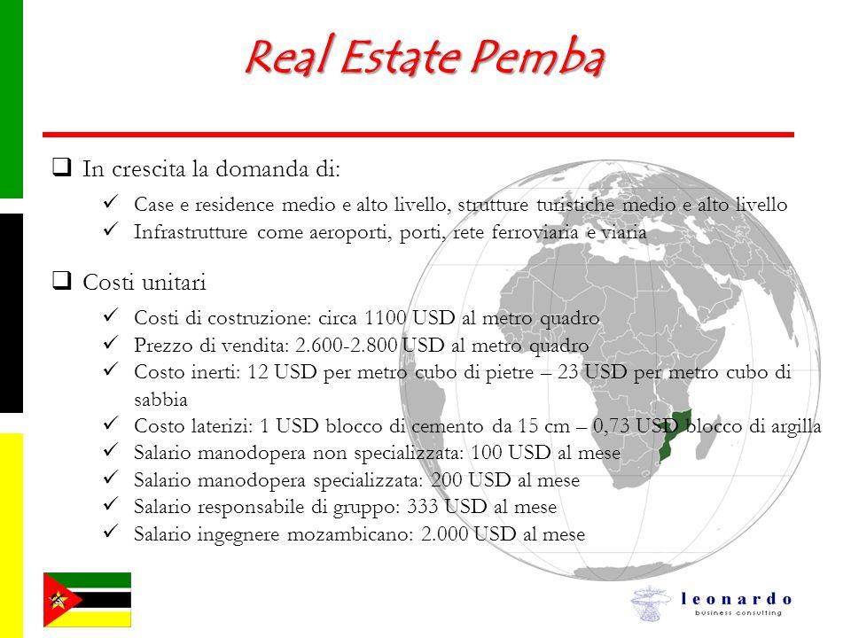 Real Estate Pemba In crescita la domanda di: Case e residence medio e alto livello, strutture turistiche medio e alto livello Infrastrutture come aero