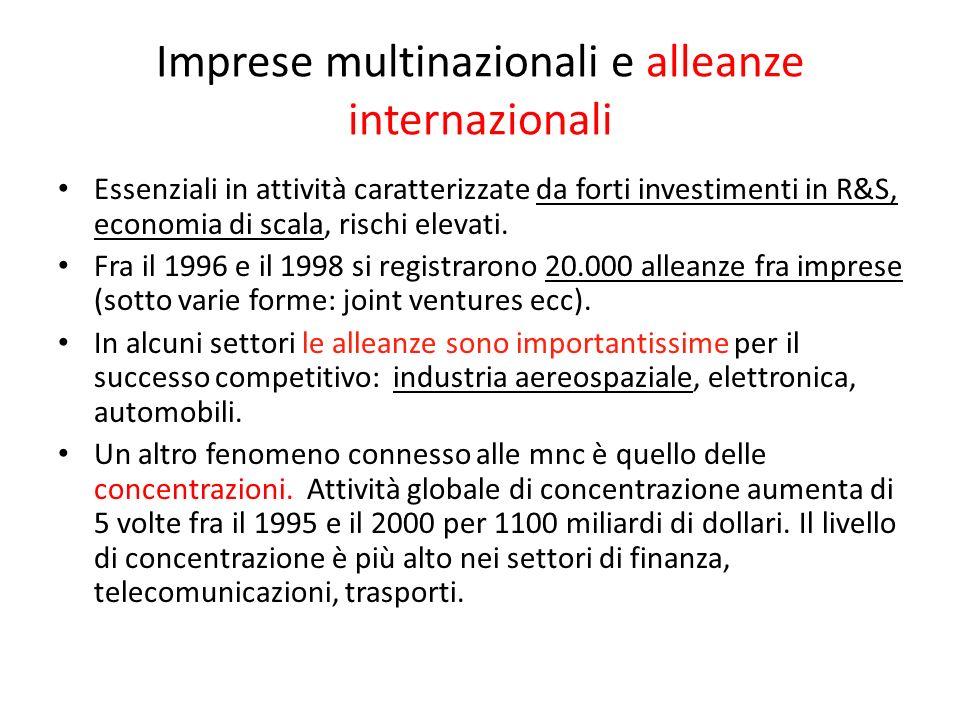 Imprese multinazionali e alleanze internazionali Essenziali in attività caratterizzate da forti investimenti in R&S, economia di scala, rischi elevati