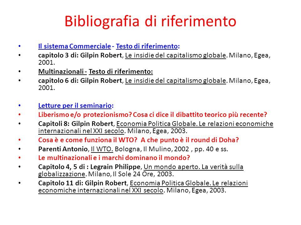 Bibliografia di riferimento Il sistema Commerciale - Testo di riferimento: capitolo 3 di: Gilpin Robert, Le insidie del capitalismo globale. Milano, E