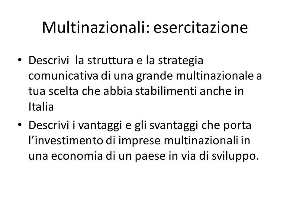 Multinazionali: esercitazione Descrivi la struttura e la strategia comunicativa di una grande multinazionale a tua scelta che abbia stabilimenti anche