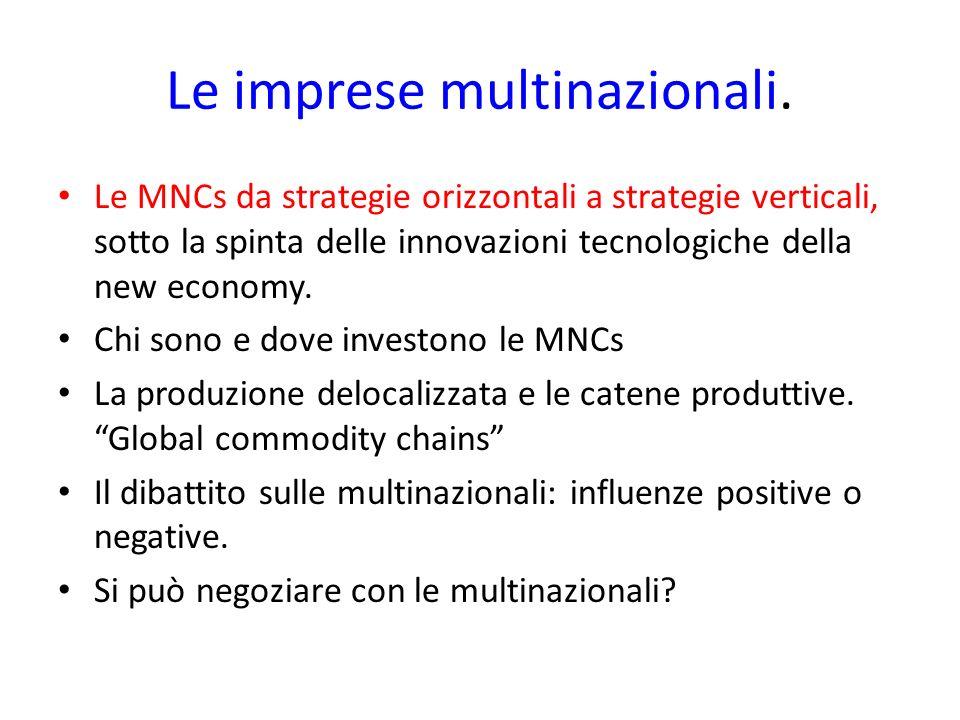 Le imprese multinazionali. Le MNCs da strategie orizzontali a strategie verticali, sotto la spinta delle innovazioni tecnologiche della new economy. C
