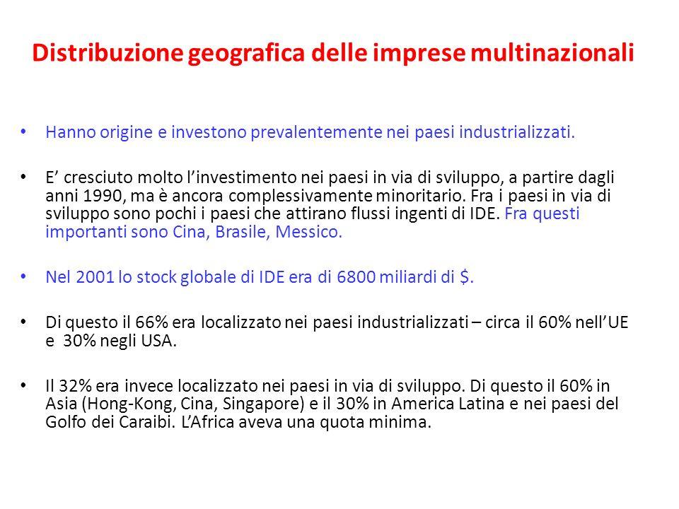 Distribuzione geografica delle imprese multinazionali Hanno origine e investono prevalentemente nei paesi industrializzati. E cresciuto molto linvesti