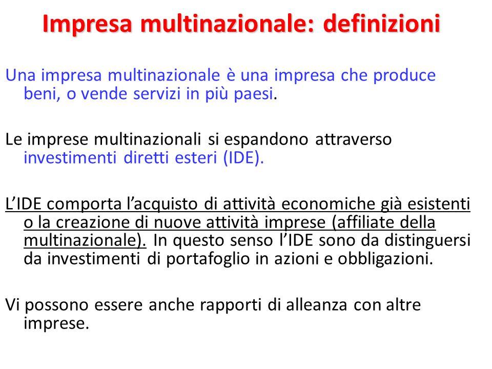 Impresa multinazionale: definizioni Una impresa multinazionale è una impresa che produce beni, o vende servizi in più paesi. Le imprese multinazionali