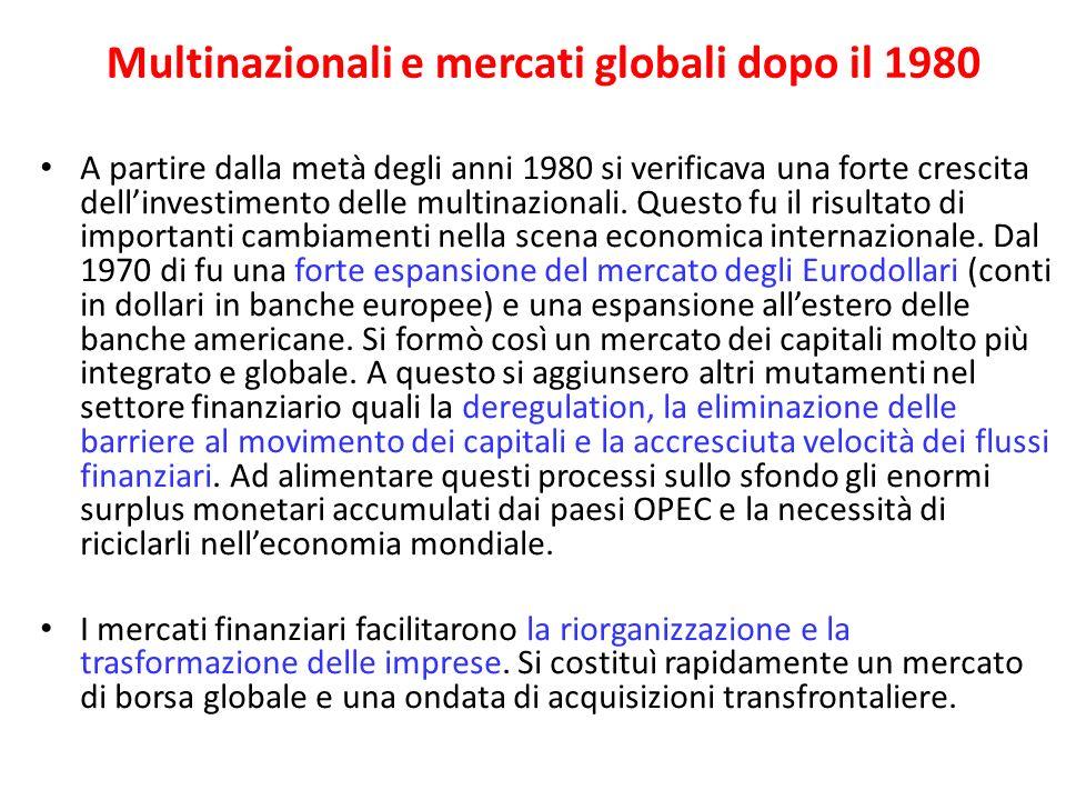 Multinazionali e mercati globali dopo il 1980 A partire dalla metà degli anni 1980 si verificava una forte crescita dellinvestimento delle multinazion